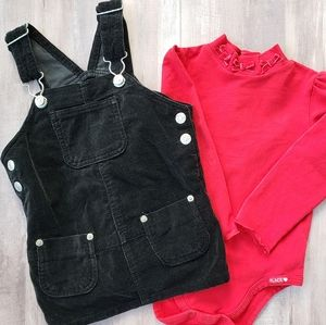 Black velour overall dress and red shirt 24 month
